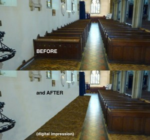 Pews before and after
